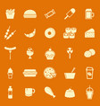 fast food color icons on orange background vector image
