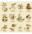 Christmas doodle icons vector image