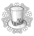 Graphic St Patricks Day hat clover and ornament vector image