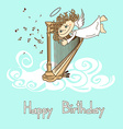Card for birthday with cupid playing the harp vector image