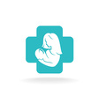 Mother and child logo with medical cross vector image