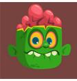 cartoon cute happy zombie head vector image