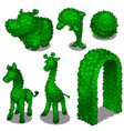 carved from leafy bushes animals and gates vector image