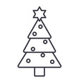 christmas tree line icon sign vector image