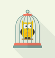 Owl in bird cage vector image