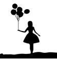 Silhouette girl holding a balloon vector image