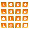 smiling fruit icons set orange vector image