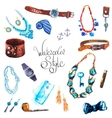 watercolor Set Accessories vector image