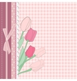 Vintage card with pink tulip vector image vector image