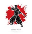 ninja and sword vector image