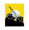 boom crane loading mining dump truck vector image
