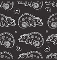 black and white seamless pattern with chameleon vector image vector image