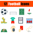 Flat design football icon set vector image