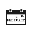 Valentine calendar icon in black color vector image