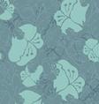 Fabric design flower green shades vector image
