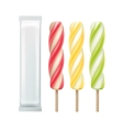 Set of Popsicle Lollipop on Stick with Foil vector image