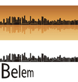 Belem skyline in orange background vector image vector image