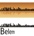 Belem skyline in orange background vector image
