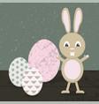 cartoon rabbit in easter vector image
