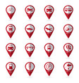 transportation icons with location icon vector image