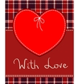 red heart textile label vector image vector image
