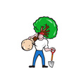 Gardener Arborist Carrying Tree Cartoon vector image