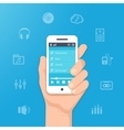 Music app on smartphone vector image