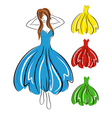 Girl in blue dress and set of gowns vector image