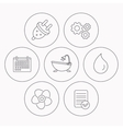 Ventilation water drop and electric plug icons vector image