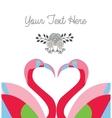 love card template two flamingo make heart shape vector image