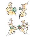 Blonde brides in doodle sketch style vector image