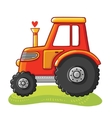 Cute tractor in a clearing vector image