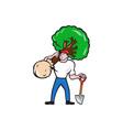 Gardener Arborist Carrying Tree Cartoon vector image