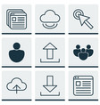 set of 9 online connection icons includes cursor vector image
