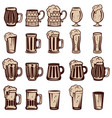 set of beer mugs and glasses design elements for vector image