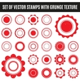 Set of red grunge stamp Round shapes vector image