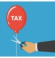 Hand cutting tax balloon string vector image