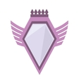 pink shield crown winged shape geometric badge vector image