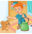 Young boy is being wary of hot kettle vector image