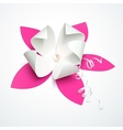 Pink cutout paper flower with pearl vector image vector image