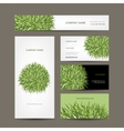 Business cards collection green meadow design vector image