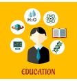 Education flat infographics template vector image