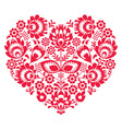 Valentines Day folk art red heart- Polish pattern vector image