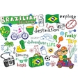 Brazilian travel doodles vector image