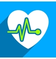 Heart Pulse Flat Square Icon with Long Shadow vector image