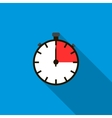 Stopwatch icon in flat style vector image