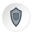 Black steel shield icon flat style vector image