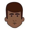 black young man head avatar character vector image