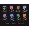 set 8 images of skulls stamps vector image
