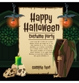 Skull and coffin with card for happy Halloween vector image